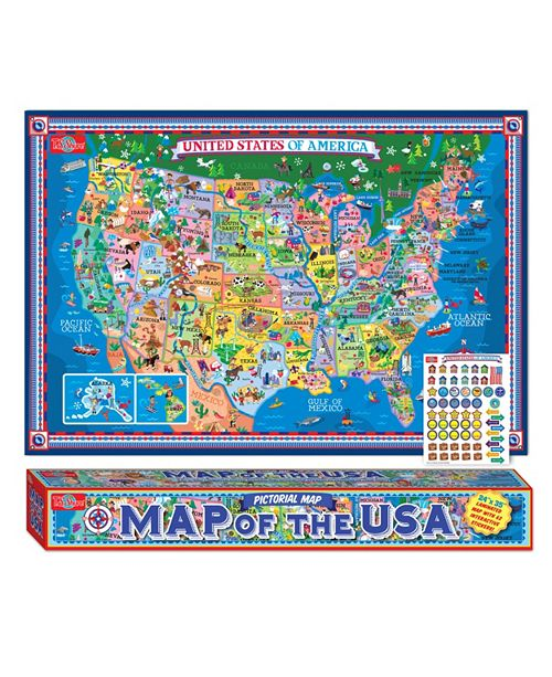 T.S. Shure Pictorial Map of The U.S.A., Laminated Poster with Stickers