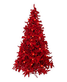 Perfect Holiday Pre-Lit Red Christmas Tree with LED Lights Collection