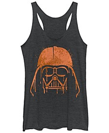 Star Wars Women's Darth Vader Orange Helmet Drip Tri-Blend Tank Top