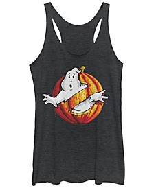 Ghostbusters Women's Classic Logo Halloween Pumpkin Tri-Blend Tank Top