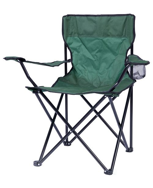 Playberg Portable Folding Outdoor Camping Chair with Can Holder, Green