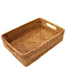 Artifacts Rattan Rectangular Basket with Cutout Handles