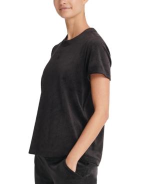Dkny T-shirts SPORT VELOUR LOGO-PRINT T-SHIRT