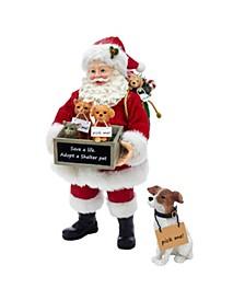 10.5-Inch Fabriché™ Adopt-a-Pet Santa with Dog, 2 Piece Set