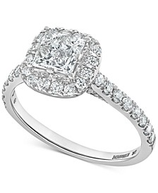 Diamond Princess Halo Engagement Ring (1-1/10 ct. t.w.) in 14k White Gold