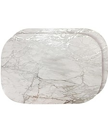 """Foiled Marble Granite Thick Cork Heat Resistant 12"""" x 18"""" Placemats - Set of 2"""