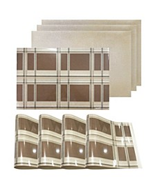 "Reversible Metallic Place Mats Non-Slip Electric Blocks Dining 12"" x 18"" Placemats - Set of 4"