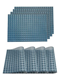 """Checkers Woven Textilene Waterproof, Heat & Stain Resistant Washable 13"""" x 19"""" Placemat - Set of 4"""