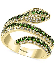 EFFY® Tsavorite (1/2 ct. t.w.) & Diamond (3/8 ct. t.w.) Snake Ring in 14k Gold