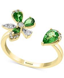 Tsavorite (3/4 ct. t.w.) & Diamond (1/6 ct. t.w.) Flower Cuff Ring in 14k Gold