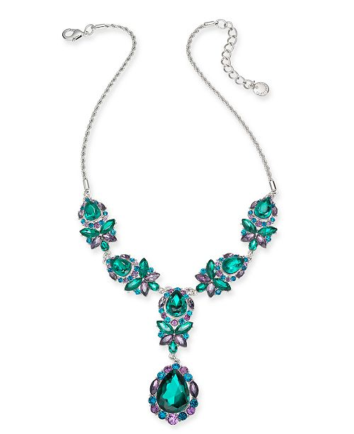 "Charter Club Silver-Tone Stone Y-Shaped Statement Necklace, 17"" + 2"" extender, Created for Macy's"