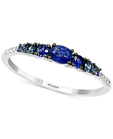 EFFY® Sapphire (1/2 ct. t.w.) & Diamond (1/20 ct. t.w.) Ring in 14k White Gold