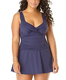 Plus Size Ruched Underwire Swimdress