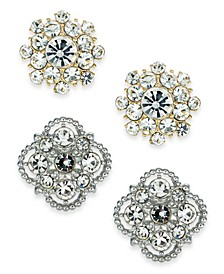 Two-Tone 2-Pc. Set Crystal Palazzo Stud Earrings, Created For Macy's