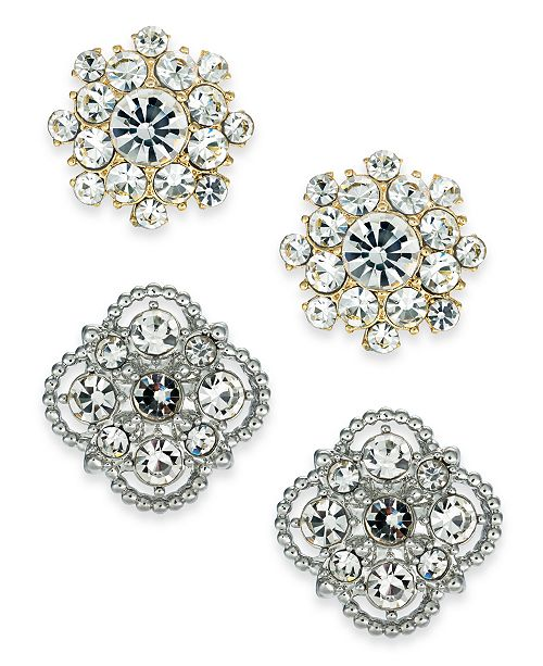 Charter Club Two-Tone 2-Pc. Set Crystal Palazzo Stud Earrings, Created for Macy's