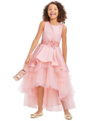 Big Girls Satin & Tulle Embellished Gown