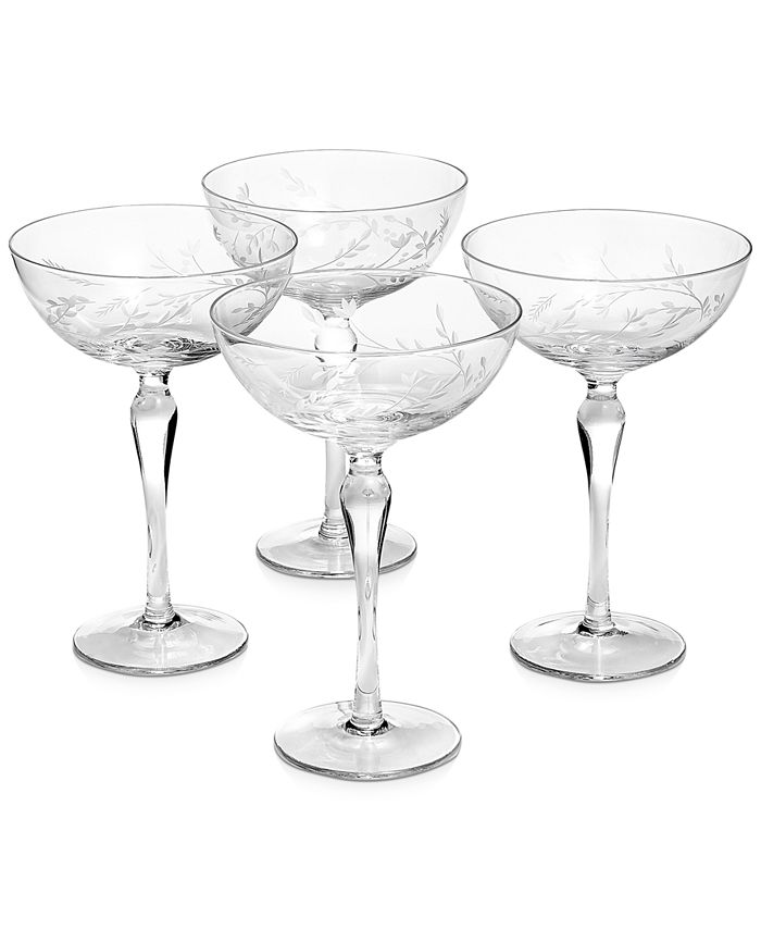 Hotel Collection - Etched Floral Coupe Glasses, Set of 4