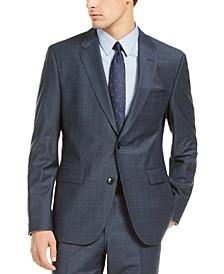 HUGO Hugo Boss Men's Slim-Fit Dark Blue/Rust Plaid Suit Jacket