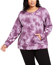 Plus Size Active Tie-Dyed Sweatshirt