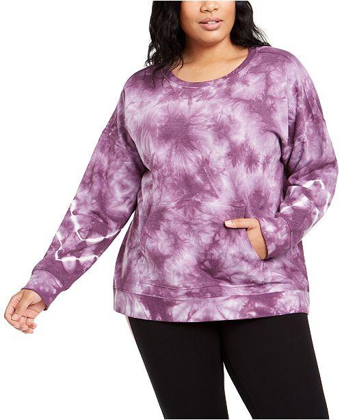 Calvin Klein Plus Size Active Tie-Dyed Sweatshirt