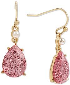 Gold-Tone Glitter Stone & Imitation Pearl Drop Earrings