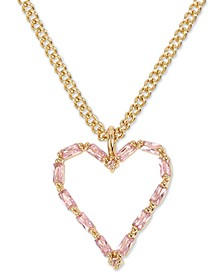 """Gold-Tone Crystal Open Heart Pendant Necklace, 16"""" + 3"""" extender"""