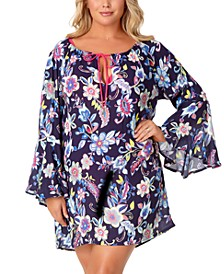 Trendy Plus Size Holiday Paisley Bell-Sleeve Tunic Cover-Up