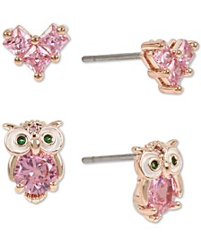 Rose Gold-Tone 2-Pc. Set Crystal Owl & Heart Stud Earrings