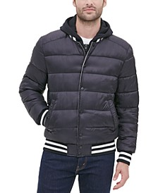 Men's Baseball Puffer with Removable Jersey Hood