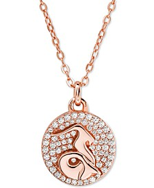 "Rose Gold-Tone Sterling Silver Pavé Zodiac Pendant Necklace, 16"" + 2"" extender"