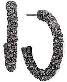 "Gold-Tone Pavé Crystal Small Hoop Earrings 1"""