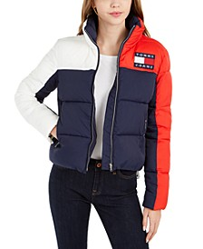 Colorblocked Adjustable Puffer Coat