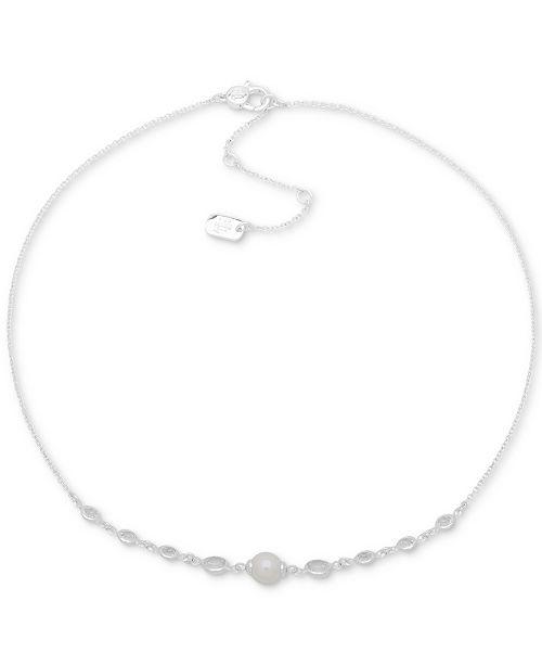 "Lauren Ralph Lauren Silver-Tone Crystal & Imitation Pearl Collar Necklace, 16"" + 3"" extender"