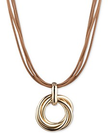 "Multi-Row Leather Cord Knot Pendant Necklace, 16"" + 3"" extender"