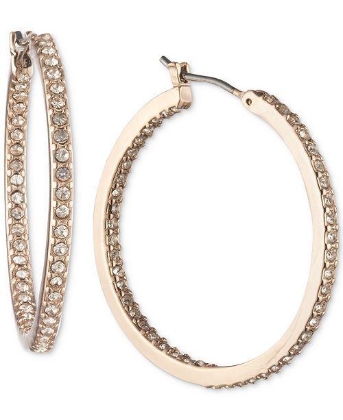 "Lauren Ralph Lauren Rose Gold-Tone Small Crystal Inside Out Hoop Earrings, 1"""