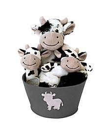 Cow 4-Piece Plush Baby Gift Set Bucket