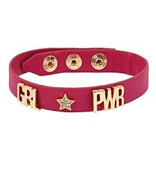 GRL PWR Affirmation Leather-Look Snap Bracelet