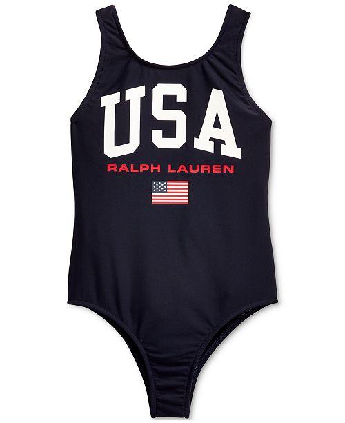 Polo Ralph Lauren Little Girls USA One-Piece Swimsuit