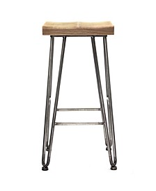 American Art Decor Rustic Wood Bar and Counter Stool