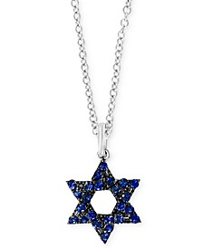 "EFFY® Sapphire Star of David 18"" Pendant Necklace (1/3 ct. t.w.) in 14k White Gold"