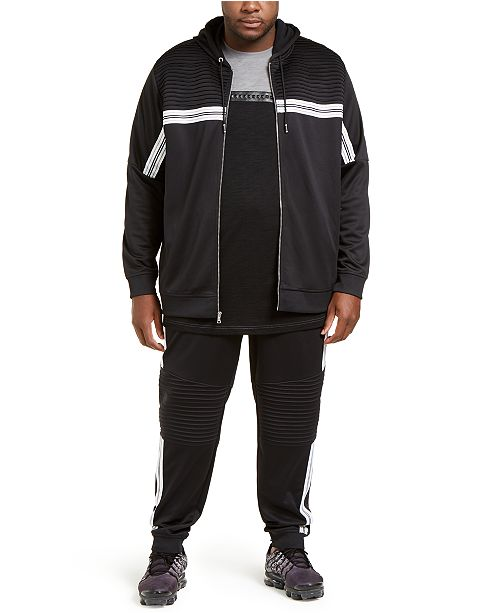 INC International Concepts INC Men's Big & Tall Chest Stripe Zip-Front Hoodie & Pants, Created For Macy's