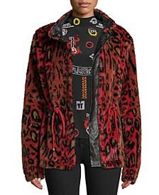 Leopard-Print Faux-Fur Utility Jacket