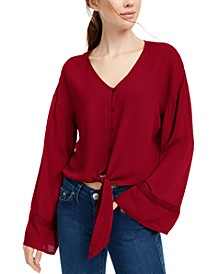 Juniors' Flare-Sleeved Tie-Waist Blouse
