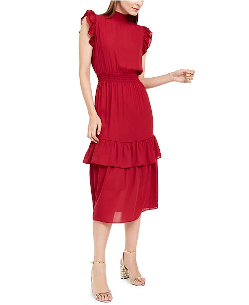 NY Collection Petite Smocking-Trim Ruffled Dress