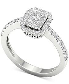 Diamond Square Cluster Halo Ring (1/2 ct. t.w.) in 10k White Gold