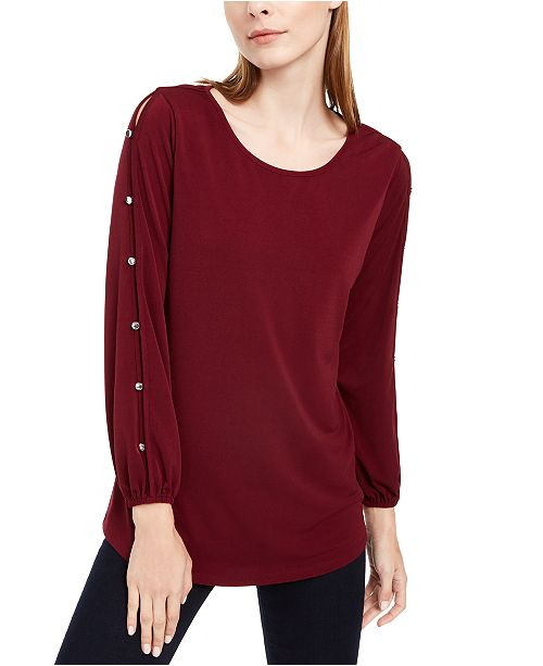NY Collection Petite Split-Sleeve Top