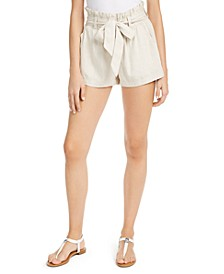Juniors' Belted Paper-Bag Shorts