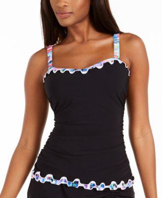 Tricolore Ruffled Underwire Tankini Top, Created For Macy's