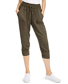 Juniors' Ruched Cropped Soft Pants