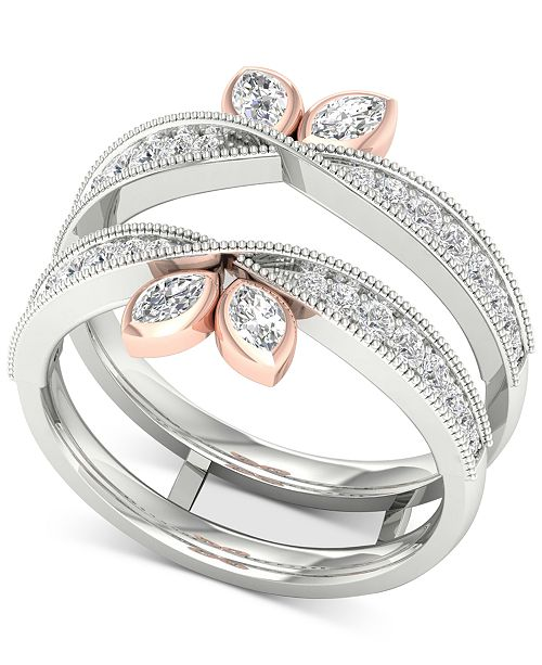 Macy's Diamond Marquise Milgrain Enhancer Ring (1/2 ct. t.w.) in 14k White & Rose Gold